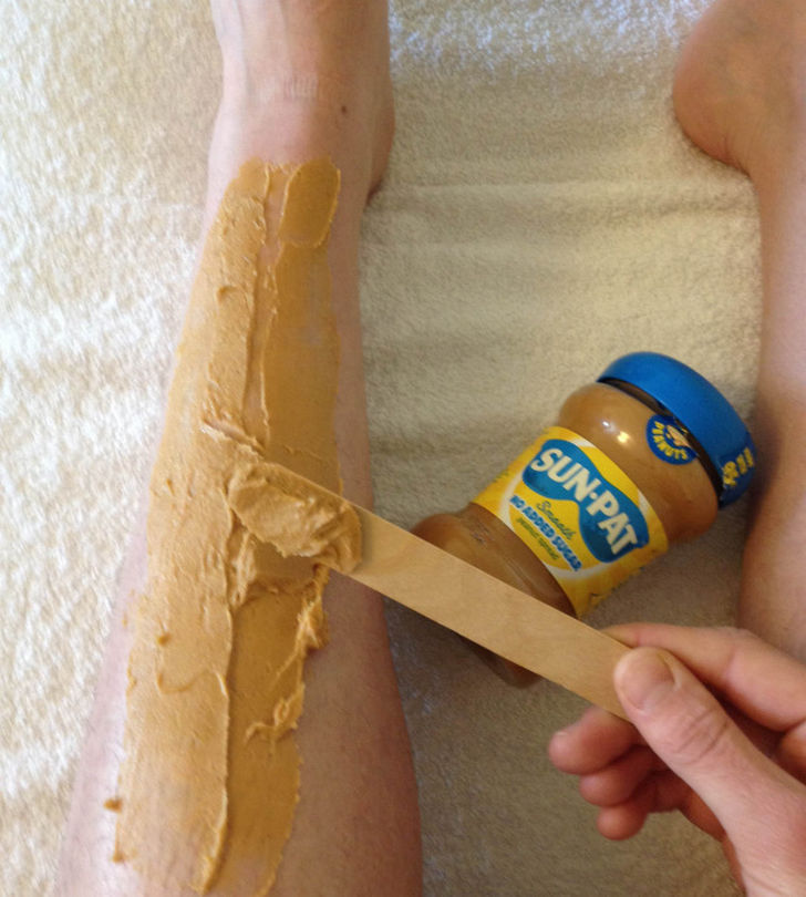 12 Incredible Uses for Peanut Butter - Use peanut butter instead of shaving cream.