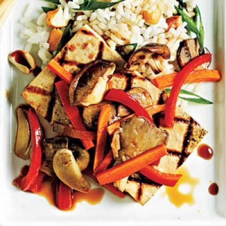 13 College Student Recipes - Tofu steaks with vegetables
