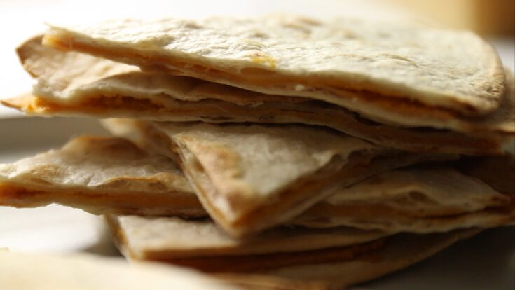 Sweet Potato Quesadillas Recipe with Chick Peas and Hot Sauce.